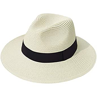 041538e6c4b85c Image Unavailable. Image not available for. Color: Lanzom Women Wide Brim  Straw Panama Roll up Hat Fedora Beach Sun Hat UPF50+ ...