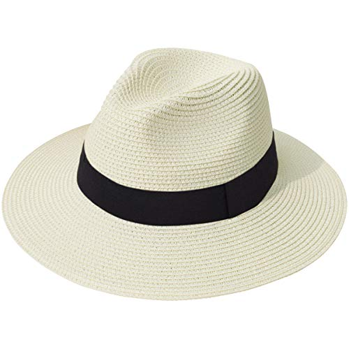 (Lanzom Women Wide Brim Straw Panama Roll up Hat Fedora Beach Sun Hat UPF50+ (A-Beige))