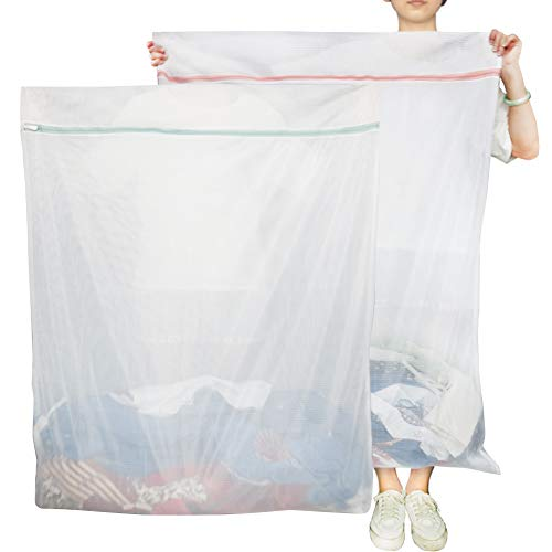 Vivifying Extra Large Mesh Laundry Bag, Set of 2 Coarse Net Washing Bag with Rustproof Metal Zip Closure for Home, College Dorms and Travel