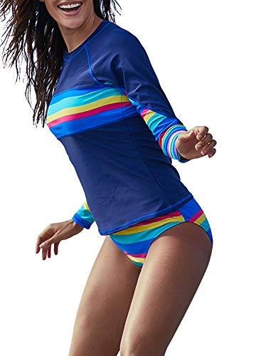Blibea Women Two Piece Swimsuit Long Sleeve Sporty Rashguard Tops Shirt with Bottom Striped Bathing Suit Blue Large ()