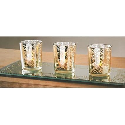 Diseño de purpurina dorado Cristal oficina en casa juego de bandeja de mesa velas decorativas con