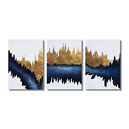 Gold Foil Texture - Abstract Wall Art Large 100% Hand-Painted Framed Oil Painting Modern Pictures Heavy Texture Gold Foil Indigo 3 Pieces Ready to Hang for Living Room Home Decoration 24x48inch