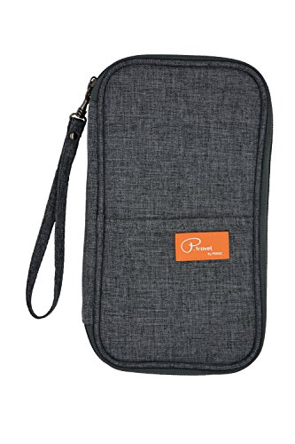 P.Travel Waterproof Travel Passport Wallet and Credit Card Holder Ticket Document Bag Small Clutch with Zippered Pockets Carry Money, Tickets, Documents Includes Smartphone Pocket (Gray) from P.travel