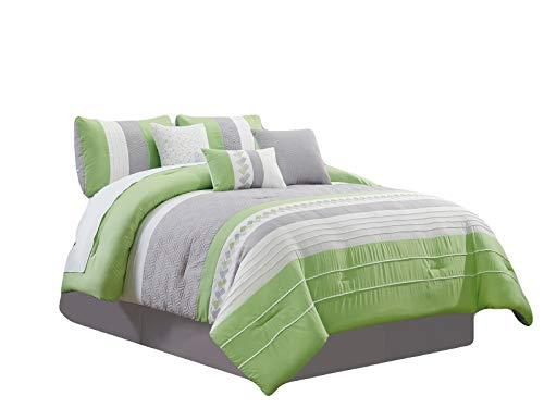 (HGS 7-Pc Knoton Embossed Geometric Cube Lines Embroidery Pleated Comforter Set Lime Green Gray Off-White Queen )