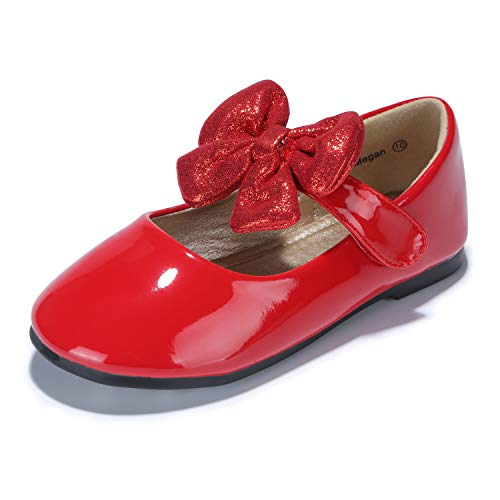 PANDANINJIA Girl Shoes, Toddler/Girl's Megan Mary Jane Flats School Uniforms Wedding Party Dress Flat Shoes,Red ()