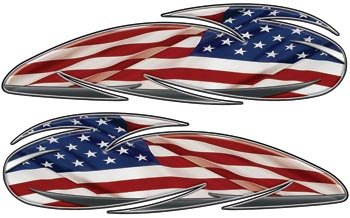 Reflective American Flag Custom Motorcycle Gas Tank Graphics ()
