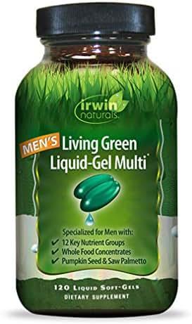 Irwin Naturals Men's Living Green Liquid-Gel Multi - 70 Essential Nutrients, Full-Spectrum Vitamins, Wholefood Blend - Targeted Adrenal & Brain Support - 120 Liquid Softgels
