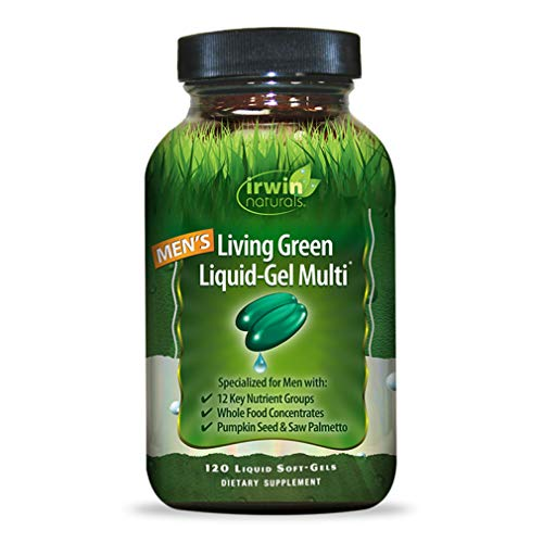 Irwin Naturals Men s Living Green Liquid-Gel Multi – 70 Essential Nutrients, Full-Spectrum Vitamins, Wholefood Blend – Targeted Adrenal Brain Support – 120 Liquid Softgels