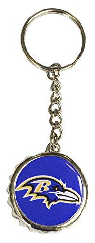 (Pro Specialties Group NFL Baltimore Raven Bottle Cap Keychain, Purple, One Size)