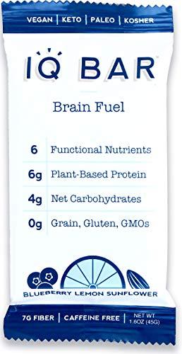 IQ BAR Brain Food Bar, Blueberry Lemon Sunflower, 7g Fiber, 6g Protein, 4g Net Carbs, Keto, Paleo, Vegan, Gluten Free, Low Carb, 1.6oz Bar, 12 Count
