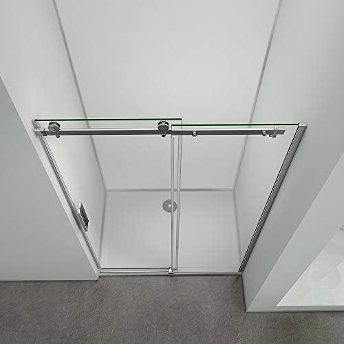 Aica - Puerta de ducha corredera 120 x 195 cm, mampara de ducha, 8 mm, cristal templado antical, instalación en caseta: Amazon.es: Bricolaje y herramientas