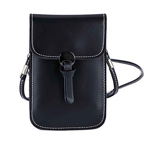 Women Mini Cross Body Bag PU Leather Cellphone Pouch Shoulder Bag Lightweigh for Cash,Card, iPhone 7 Plus 6S Plus 6 Plus Samsung (black) (black)