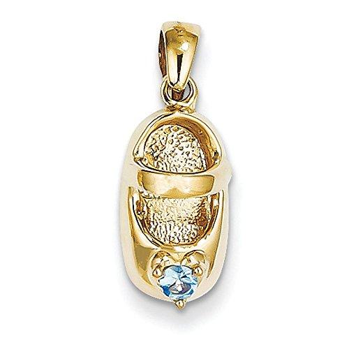 Or 14ct 3-D Décembre/Bleu Topaze Médaille bébé chaussures Charme