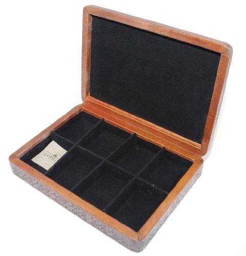 8 Pair Executive carved Leather Cufflinks Box Executive Cufflinks