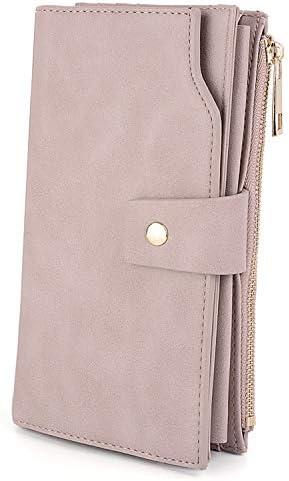 UTO Damen RFID Blocking große Kapazität Vegan Leder Clutch Wallet 21 Card Slots Halter Organizer Damen Veganrse mit Armband Hellrosa