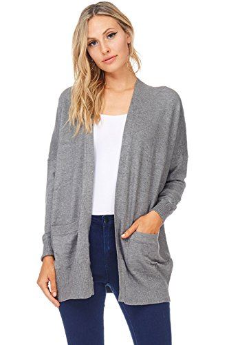 A+D Womens Casual Open Knit Dropped Sleeve Cardigan Sweater (Charcoal, (Cashmere Kimono Sleeve Sweater)