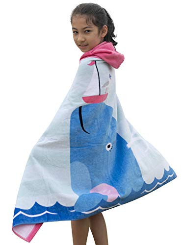 Athaelay Cotton Beach Towel with Hood for Age 2-8 Years Girls, Super Soft and Absorbent, Dolphin Theme