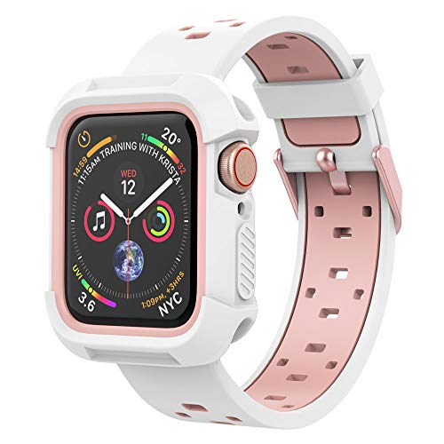 UMTELE Case and Band Compatible for Apple Watch Series 1/2/3 42mm, Silicone Strap with Ventilation Holes and Shock Resistant Bumper Cover Replacement for Apple Watch Series 1/2/3 White/Pink,42mm