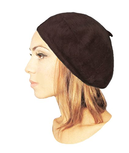 Women's Angora Beret Fashion Hat Hair Snood Angora Fur Chemo Hat Chemo Cap (Dark Brown)