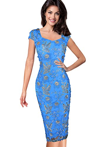 Vfemage Womens 3D Flower Embroidery Wedding Party Mother of Bride Dress