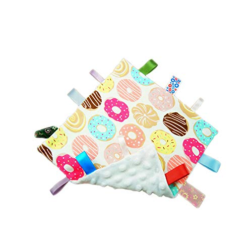 G-Tree Baby Comfort Taggie Blanket,Comfort Security Blanket Great Gift for Toddler Child Kids,Colorful Taggy Security Blanket - White Textured Underside