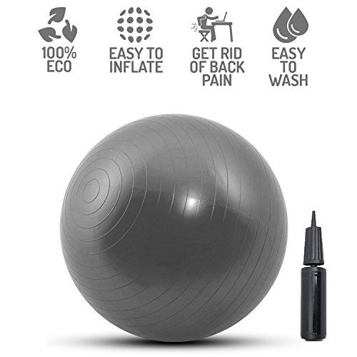 Medicine Exercise Balance Ball Chair - Physio Swiss Ball Can Be Used as Yoga Ball Chairs for the Office and Birthing Pregnancy Ball for All Ages, Gym Exercize Ball for Adults Home Fitness Workout by Perfect Life Ideas