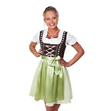 Bavarian Women's Dirndl dress 3-pieces with apron and blouse green pink
