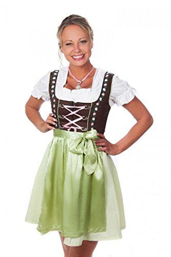 Bavarian Women's Dirndl dress 3-pieces+ apron +blouse green pink GE44 (US 14)