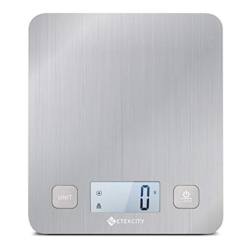 Etekcity EK6212 Digital Kitchen Multifunction Food Scale with Large Platform 11lb 5kg, Batteries Included (Stainless Steel) (silver) by Etekcity