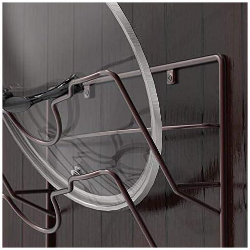 Kitchen Simple Houseware Wall Door Mounted Pot Lid Rack, Bronze pot lid holders