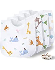 Gudodle Baby Bib-Bandana Drool Bibs, Super Absorbent and Soft for Drooling and Teething Boys&Girls, 4 Pack