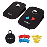 EliteGo Collapsible Portable Cornhole Boards Game Set with 8 Cornhole Bean Bags - Choose Red & Blue or Black (3 x 2 feet)