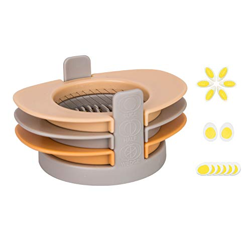 (3-in-1 Egg Cutter with Stainless Steel Cutting Wire Egg Slicer for Fruit and Vegetable Kitchen Garnish Tool)