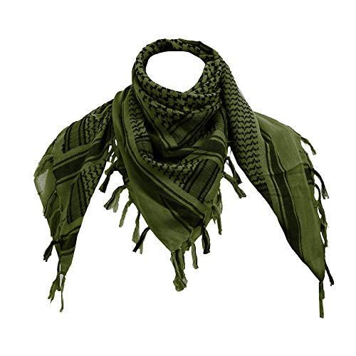 100% Cotton Military Shemagh Tactical Desert Keffiyeh Scarf Wrap Green]()