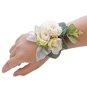 Silk Flower Arrangements S_SSOY Wrist Corsage Wedding Bridal Bridesmaid Wrist Flower Wedding Hand Flower for Party Prom Decor (White Champagne Pink, Pack of 4)