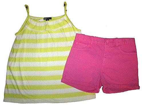 Gap Kids Classic Shorts (Gap Kids Girls Yellow Stripe Cami Top & Bright Pink Classic Denim Shorts 14)