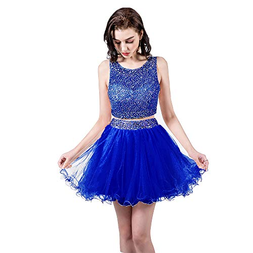 TANGFUTI Two Piece Homecoming Dresses Short Beaded Tulle Formal Prom Gowns 010 Royal Blue US6