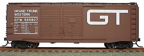 40' AAR Double-Door Boxcar - Kit (Plastic) -- Grand Trunk Western (Mineral Red w/white - Trunk Grand Scale Ho