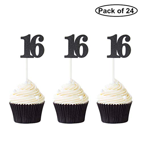 Pack of 24 Number 16 Cupcake Toppers Black Glitter 16th Birthday Caupcake Picks Anniversary Party Decor