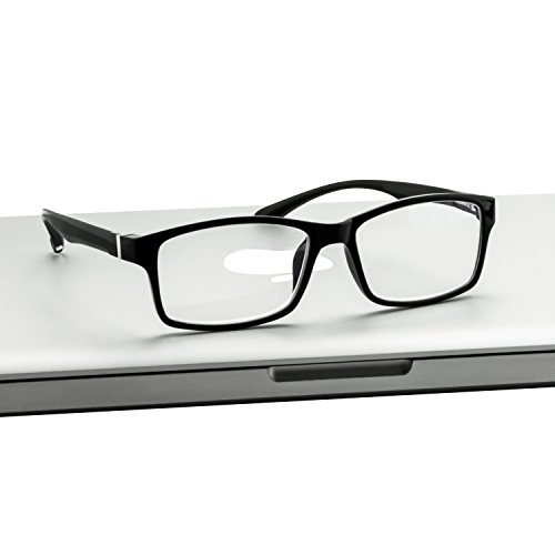 Computer Reading Glasses 0.00 Black 2 Pack Protect Your Eyes Against Eye Strain, Fatigue and Dry Eyes from Digital Gear with Anti Blue Light, Anti UV, Anti Glare, and are Anti Reflective by TruVision Readers (Image #4)'
