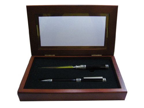 (Relic & Pewter Ballpoint Pen and Letter Opener Set, Comes in a Beautiful Rosewood Gift Box, Black (21733PLB))