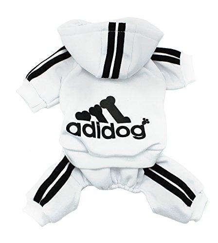 Scheppend Adidog Pet Clothes for Dog Cat Puppy Hoodies Coat Winter Sweatshirt Warm Sweater,White S