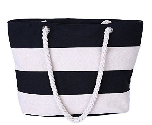 Pouch Bag Handbag Beige Shoulder Bale Crossbody Canvas New Women Black Rucksack Beach LAAT Shopping Sack Travel wpnxOqg