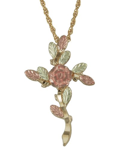 """10k Yellow Gold Tree of Life Cross Necklace, 12k Green, Rose Gold Black Hills Gold, 18"""" by Black Hills Gold Jewelry"""