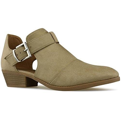 Premier Standard Women's Strappy Buckle Closed Toe Bootie - Low Heel Casual Comfortable Walking Boot Lt Taupe F*