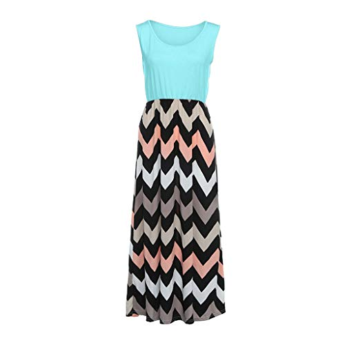 (Rakkiss Women Dress Striped Splice Dress Bohemia Maxi High Waist Skirt Sundrss Green)