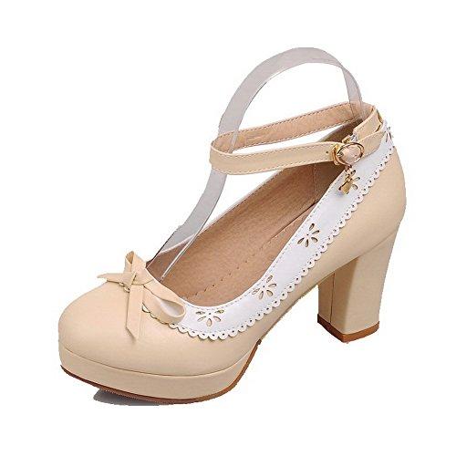 AllhqFashion Women's Buckle High-Heels PU Assorted Color Round Closed Toe Shoes Pumps-Shoes B01L1EN7DA Shoes Toe 9422a9
