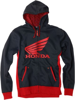 Honda Zip Hoody - Factory Effex Honda Limit Zip Hoody (X-Large) (Black/RED)