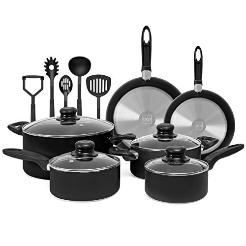 Best Choice Products 15-Piece Nonstick Cookware Kitchen Pots & Pans Set w/ BPA Free Utensils - Black