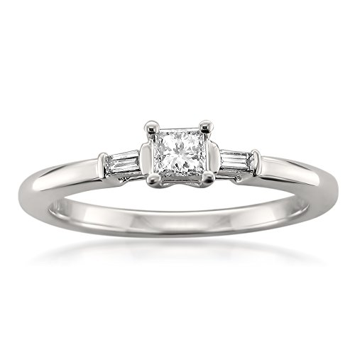 Ring Solitaire Baguette Diamond - 14k White Gold Solitaire Princess-cut & Baguette Diamond Engagement Ring (1/4 cttw, H-I, I1), Size 6